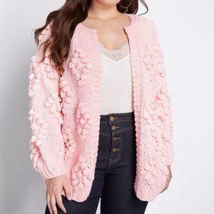 new MODCLOTH textured pink cardigan sweater L